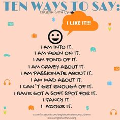 ESL, EFL, Teaching English, Activities, 10 Ways to say ´I LIKE IT´, ENGLISH WITH EVA
