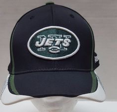 7852942bd50 New York Jets Black Hat Size Small Med Reebok NFL Equipment Fitted Cap   Reebok  NYJets