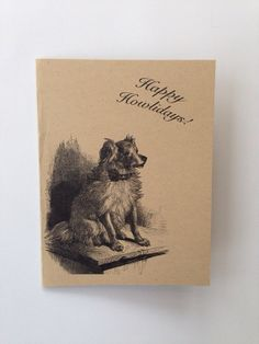 Happy HOWLidays Animal Pun Vintage Style Card by ModernCuriosities, $3.50