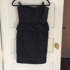 Black J. Crew mini dress Strapless with built-in bra. Layered look, 100% cotton. Dress up or down, perfect LBD! J. Crew Dresses Strapless
