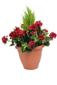 Artificial red #geranium flower plant bush shrub in container #patio #planter tub,  View more on the LINK: http://www.zeppy.io/product/gb/2/192018893074/