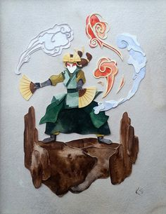 Avatar Kyoshi Watercolor, Papercut 8.5″x11″ Commissioned Piece
