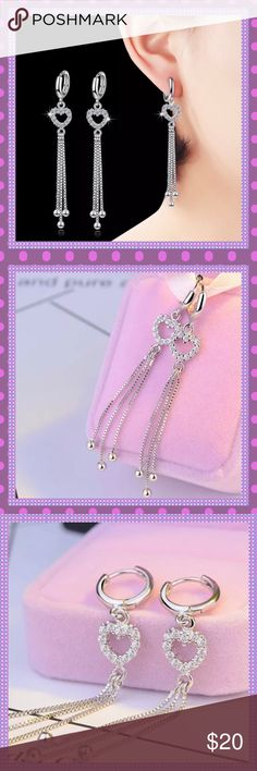 "💜Heart Tassel Cubic Zirconia Huggable Earrings💜 💜GORGEOUS Sterling Silver Natural Cubic Zirconia Hearts with Tassels Huggable Pierced Earrings, so beautiful. Approx. 2.67"" Long, Only have ONE pair left, don't let them get away!💜 Boutique Jewelry Earrings"