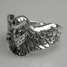 Phoenix Rising Ring in Sterling Silver -Mens and Womens Animal Rings - Designer Jewellery by Stephen Einhorn London