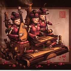 Court Band art print by @jamesngart. #ImperialSteamAndLight #Steampunk #ConceptArt