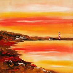 Een lekker fel gekleurde en met de hand geschilderde modern figuratieve afbeelding van een kuststrook. - A nice bright colored and hand painted modern figurative image of a coastal strip.