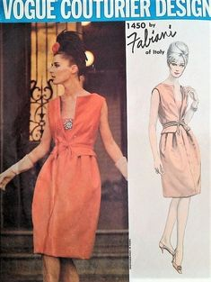 1960s Fabiani Cocktail Evening Dress Pattern RARE Vogue Couturier 1450 Stunning Design B 31 Vintage Sewing Pattern Includes Sew In Vogue Label
