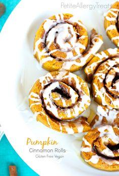 Pumpkin Cinnamon Rolls (gluten free vegan dairy free)- Soft cinnamon buns with warm pumpkin spice flavor.