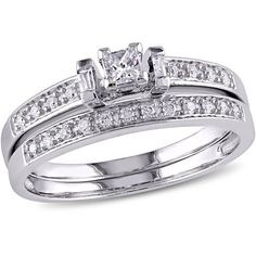 Miabella 1/3 Carat T.W. Princess, Baguette and Round-Cut Diamond 10kt White Gold Bridal Set #whitediamonds