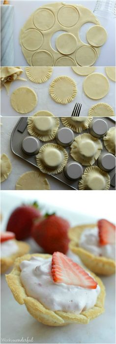 Skinny Mini Strawberry Pie Bites : Strawberry Cream Pie : Light Dessert Recipe (dessert ideas for party muffin tins) Light Dessert Recipes, Pie Dessert, Dessert Ideas, Dessert Light, Baked Breakfast Recipes, Breakfast Bake, Just Desserts, Delicious Desserts, Yummy Food