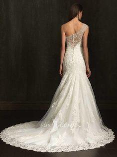 lace applique beaded one shoulder slim trumpet wedding dress