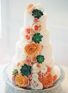 succulent wedding cake | Vicki Grafton Photography width=