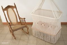 """Hanging Swinging Baby Cradle in Macrame, Rectangular Shape. (PREORDER) Cream color cotton ropes. High Quality. L36""""x W21"""", Fair Trade."""