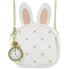 White Rabbit Handbag by Loungefly Alice in Wonderland (4,225 INR) ❤ liked on Polyvore featuring bags, handbags, white hand bags, loungefly bags, purse bag, man bag and loungefly