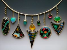 Kaleidoscope Necklace by Lisa Hawthorne.  Cloisonné enamel, silver, gemstones.