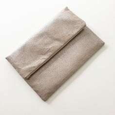 Metallic Tan Foldover Clutch