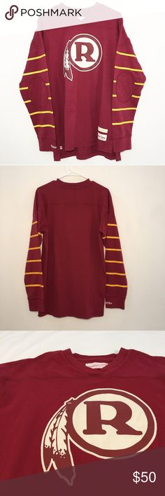 "Mitchell & Ness Redskins long sleeve jersey shirt Cool details on this long sleeve shirt. Size L.   Approximate measurements while flat: Length: 28.5"" Sleeve length from collar to hem: 32"" Pit to pit: 21.5""  Small mark shown in 7th photo. Looks like a water mark. Potentially removable. Otherwise great condition! Mitchell & Ness Shirts Tees - Long Sleeve"