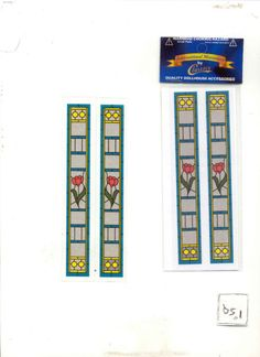 Simulated Stain Glass #SLIM10 dollhouse miniature door insert 1/12 scace #InternationalMiniaturesbyClassics