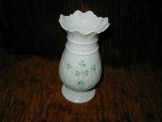 "Belleek Ireland 8"" Porcelain Vase with Green Shamrocks"