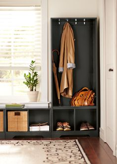 Use customizable pieces to create storage that fits your entryway space. HomeDecorators.com #liveorganized