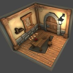 Low Poly Medieval Room by Dylan Eurlings on ArtStation. Game Environment, Environment Concept Art, Environment Design, Medieval, Low Poly Games, Hand Painted Textures, Isometric Art, Game Props, Modelos 3d