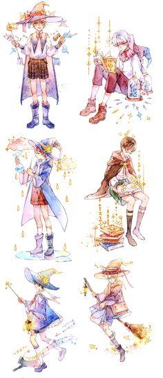 Anime Wizard, Masking Tape, Washi Tape, Boy Cartoon Characters, Boy Illustration, Illustrations, Messy Art, Boy Drawing, Cool Anime Guys