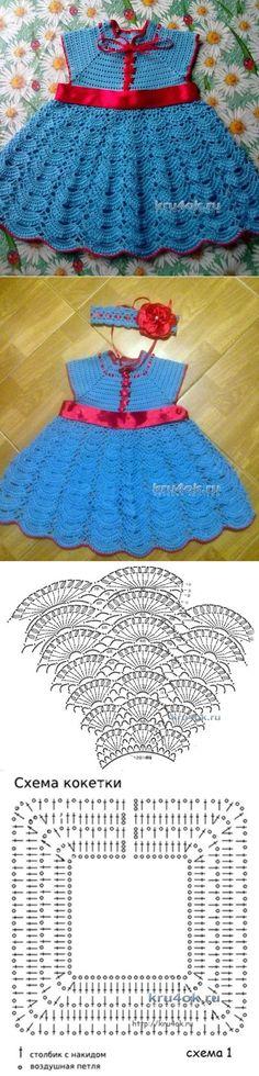 Dress for girls - the work of Anna Nazarenko - Crochet on Crochet Dress Girl, Baby Girl Crochet, Crochet Baby Clothes, Crochet For Kids, Knit Crochet, Headband Crochet, Baby Dress Patterns, Knit Patterns, Beautiful Crochet