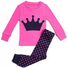 Buy Girls Pajamas Princess Crown 2 Piece Super Soft Cotton Aqua - Hot Pink / Navy - online, more latest style of Girls' Pajama Sets sale at affordable price. Kids Outfits Girls, Girl Outfits, Kids Girls, Baby Kids, Pajama Day At School, Girls Sleepwear, Thing 1, Cotton Pyjamas, Girls Pajamas