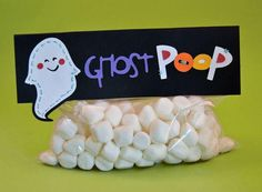 "Marshmallows as ghost poop.  Works for snowman poop too.  hahaha  May need to clean it up a bit and change it to ""ghost dropping"" for kids."
