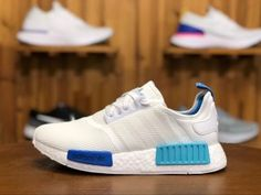 b77e118dc3d5a Mens Womens Shoes adidas Originals NMD Runner W White Blue Glow S75235 Adidas  Shoes Nmd