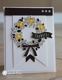 handmade card from Ladybug Designs: Freshly Made Sketches Challenge #205 ... black and white with spots of yellow ... Wondrous Wreath on fishtail banner ... Stampin' Up!