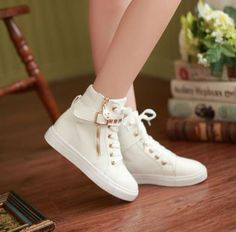 2015 New Fashion Korean Women's High-top Lace-up Casual Flats Sports Shoes