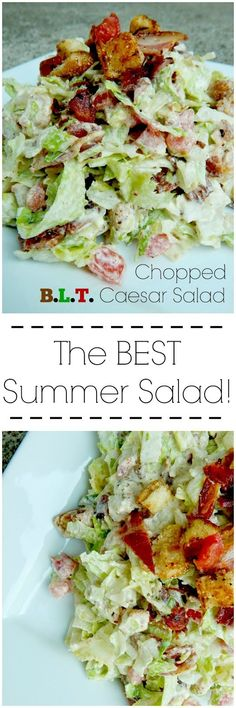 Chopped B. Caesar Salad is the salad of the summer! All of summer's fresh ingredients put into this creamy, salty and crunchy salad. Best Summer Salads, Summer Recipes, Low Carb Recipes, Cooking Recipes, Healthy Recipes, Avocado Recipes, Cooking Tips, Pasta Recipes, Healthy Salads