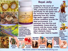 """Forever Royal Jelly® Royal Jelly is a substance derived from the pharyngeal glands of the honey bee and can help support the immune system, increase energy and benefit the skin and hair. Royal Jelly is a substance derived from the pharyngeal glands of the honey bee. This """"super food"""" of the bees is specially blended with enzymes and fed to each bee destined to become a queen."""