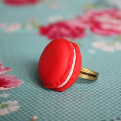 Strawberry Red French Macaron Ring.   YES! Except it would make me want to eat a Macaron all the time...