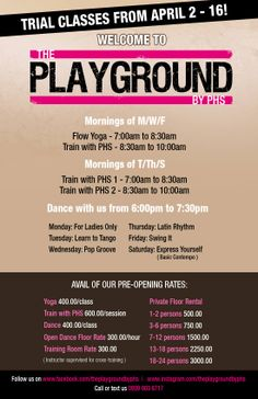 Trial classes from April 2 - So excited to welcome you to The Playground by PHS! Health Bar, Fitness Studio, Yoga Flow, Cross Training, Trials, Playground, Children Playground, Outdoor Playground