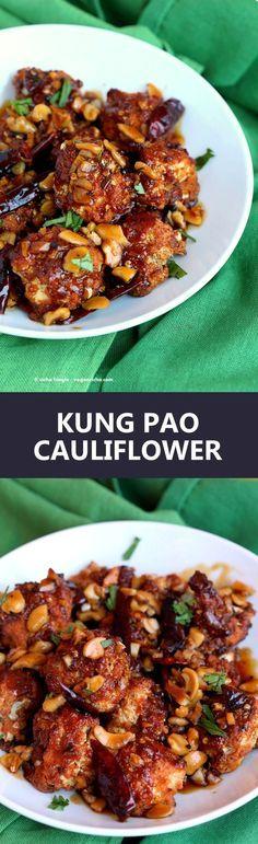 Spicy Crispy Kung Pao Cauliflower. Cauliflower battered and baked and tossed in spicy kung pao sauce. | VeganRicha.com vegan appetizer snack cauliflower kungpao recipe