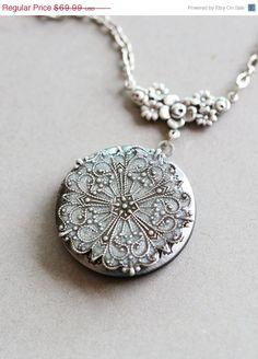 on sale Locket, Silver Locket,Pearl White Locket,Bird,filigree locket necklace,photo locket ,Wedding Necklace,bridesmaid necklace on Etsy, $62.99