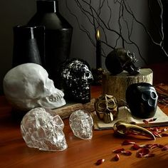 It's starting to get a little scary around here . . . Skull Sculptures via @westelm #skull_decor #Halloween #Halloween2015