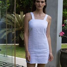 3b89b8b3917 White Linen  La Confection white linen pinafore poppy dress.  laconfection.  www.la-confection.com