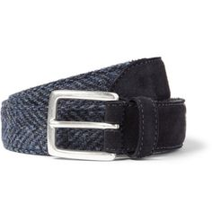 Anderson's Blue 3cm Harris Tweed and Suede Belt   MR PORTER