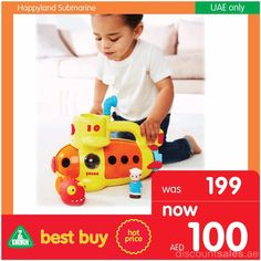 Happyland Submarine Toy now @ AED 100 Our best buy across all ELC stores in UAE started already. Limited stock available! Happyland Submarine Toy now @ AED 100 Visit the nearest branch and enjoy shopping. Offer valid until October, 2016 Offer Link: ht Elc Toys, Dubai Deals, Dubai Offers, Dubai Uae, Cool Things To Buy, The 100, October, Children, Link