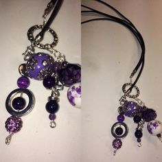 Double Black Leather Lariat/Bolo with Amethyst/Purple Crystals, Striped Agate and Tibetan Silver. $40
