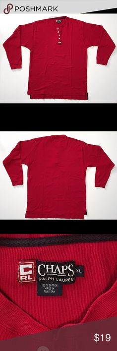 "Rare Vintage 🔥Chaps🔥Ralph Lauren Henley Rare Vintage Chaps Ralph Lauren Long Sleeve Red Henley Size XL. This Awesome Shirt Is In Great Condition And Features The Classic RL Chaps Ralph Lauren Patch On The Front, With Good Color, Normal Wear, Normal Fading, No Tears, No Snags And Little To No Stains.   Measurements: Armpit To Armpit-23"" Length-32"" Sleeves ( Shoulder Seam To Bottom Cuff)-24"" Chaps Ralph Lauren Shirts Tees - Long Sleeve"