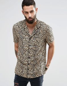 Religion+Leopard+Print+Short+Sleeve+Shirt+In+Oversize
