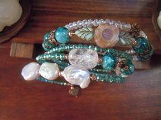 Bracciale con agate cristalli perle di fiume ematite color