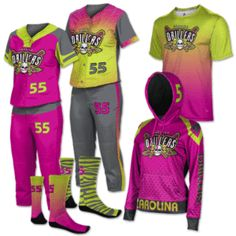 softball+uniforms+girls | Thunder Bolt Women\'s Sublimated Softball ...