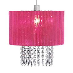 From 8.76 Pink Voile Ribbon Wrapped Pendant Shade With Acrylic Droplets