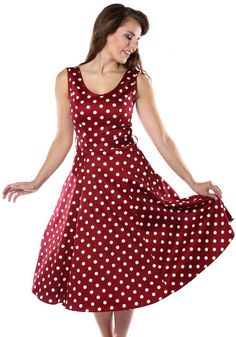 Wine Red Polka Dot Charlotte, dress by Lady Vintage  http://www.misswindyshop.com #polkadot #dress #vintagestyle #red #petticoat #pockets