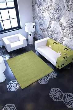 Marcel Wanders. I find the octogon shape of the stencil very modern. Good idea with a simplier pattern.